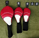 3 Pack Premium Red, White, and Black Golf Club Headcovers Set Driver Woods Hybrid 1,3,5,7,X Tags Classic Style, Outdoor Stuffs