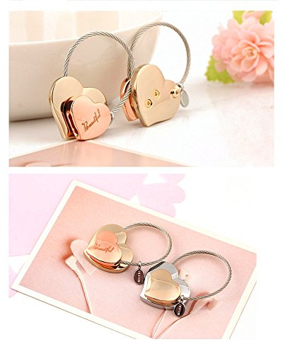 MILESI Heart to Heart Metal Keychain of Love for Women Sweet Couples Gift (Rose gold-light gold) by MILESI (Image #3)