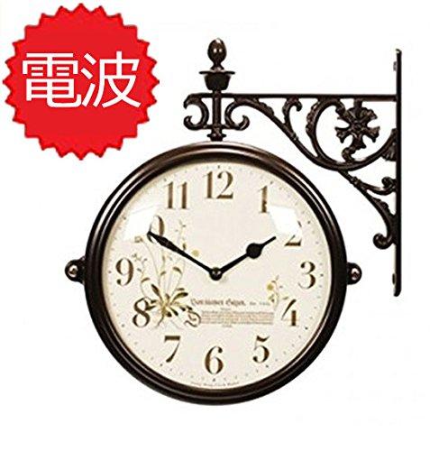 両面電波時計 両面時計 Interior Double Face Wall Clock おしゃれな インテリア 両面壁掛け時計 電波両面時計 M195 Br-B1 B072KX9VTR