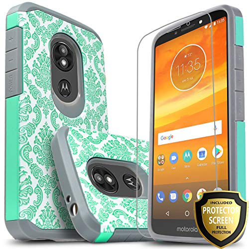 Moto G6 Play Case, Moto E5 Case, Moto G6 Forge Case, With [Premium HD Screen Protector Included], Starshop Shock Absorption Dual Layers Impact Drop Protection Protective Phone Cover-Teal Lace