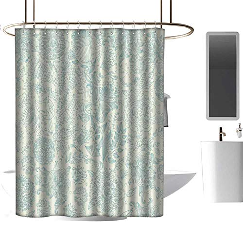 (Qenuan Quality Polyester Shower Curtain Blue and Green,Antique Ornamental Motifs Inspired by Lively Summer Season Nature,Pale Green and Blue,Waterproof Washable Bathroom Curtain 54