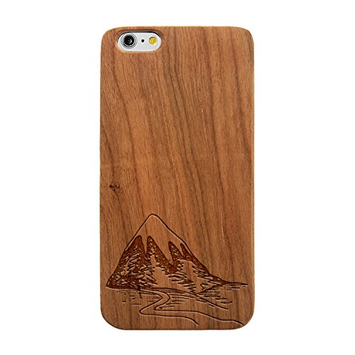 Laser Engraved Wood Case iPhone Galaxy Mountain Landscape Drawing iPhone 6 or iPhone 6s Cherry Case