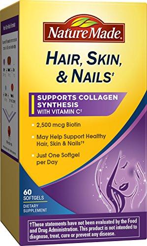 Nature Made Hair, Skin & Nails w. 2500 mcg of Biotin Softgels 60 (Hair Skin Nails Supplement)