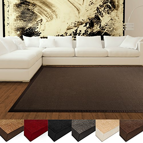 casa-pura-natural-fiber-rug-sisal-non-slip-backing-wide-border-4x6-dark-brown-5-colors