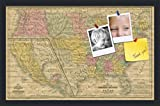 PinPix custom printed pin cork bulletin board made from canvas, Mid-1800s US Map 25 x 16 Inches (Completed Size) and framed in Satin Black (PinPix-658)