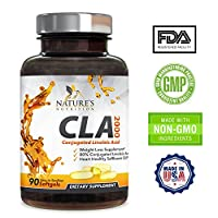 Nature's Nutrition CLA 2000, Max Potency, Weight Loss Exercise Enhancement, Increase Lean Muscle Mass, Non-Stimulating, Non-GMO, 100% Safflower Oil, CLA Linoleic Supplement Pills