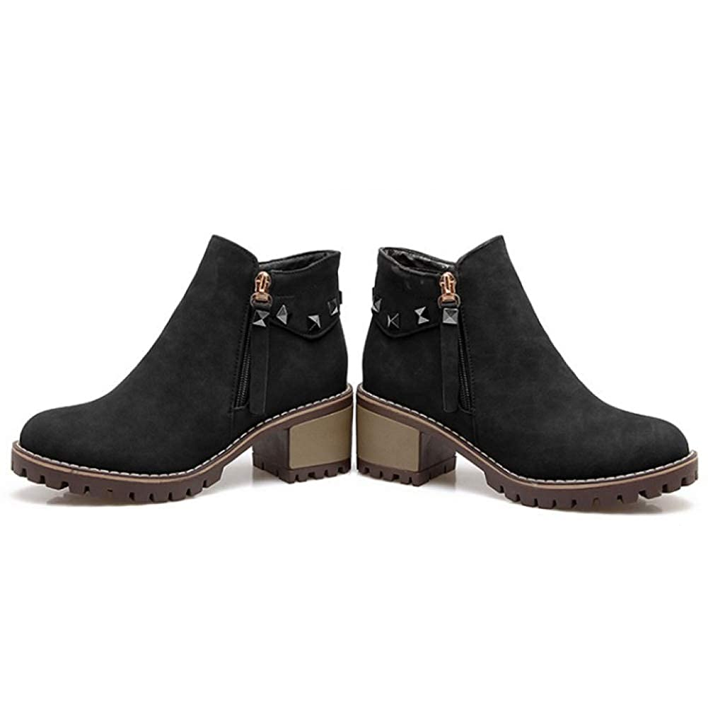 Damen Mid Mid Damen Block Blockabsatz Stiefeletten PU Leder Grip Sohle Klassische Stiefelies Schuhe Reißverschluss Herbst Casual Kurze Stiefel 4a147e