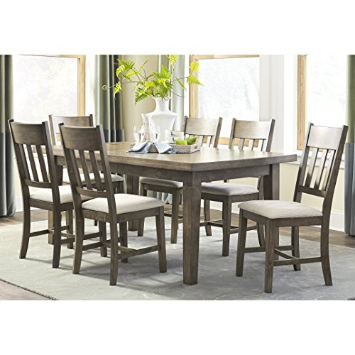 7 Piece Normal Height Dining Set Rubberwood Oak Veneers Solid Top Comfortable Combination Great Look Beige Upholstery Wood in Dark Oak Plus FREE GIFT
