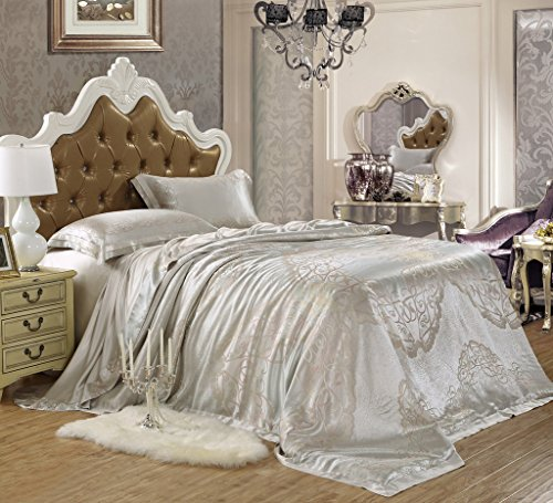 Orifashion Limited Edition 5-Piece Luxury 100% No-dyeing Nature Colour Silk Jacquard Bedding Set With Truelove Knot Pattern, King Size