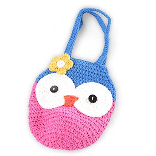 Baby Crochet Handmade Handbag Wrist Pocket Bag Purse Pink/Blue - Bow Handmade Crochet