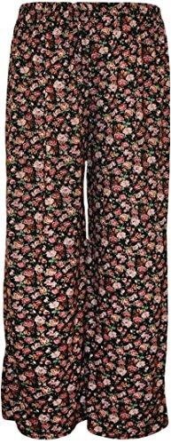 New Womens Plus Size Wide Leg Floral Printed Palazzo Trousers 16-26 ( Black , UK 16-18 / EU 44-46 )