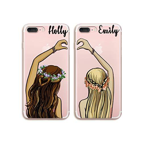 Best Friends Case Set for iPhone 10 X 8 8plus 7 6 6S 6plus 7plus 6splus 7plus 7s Plus 5 5S 5C SE 5se Couple Case Best Friend Samsung Case Galaxy Case S7 Edge Case S8 Plus Samsung S9 Case CF4143