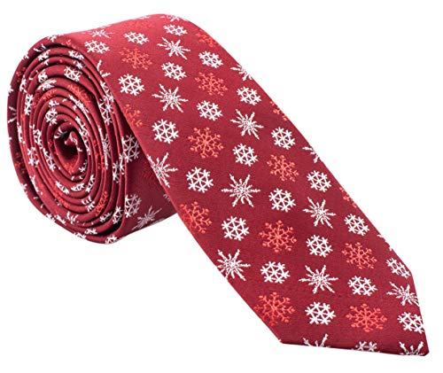 Holiday Christmas Ties for Men - Cool Mens Neckties - Many Colors to Choose From (Snowflakes - Red & White)