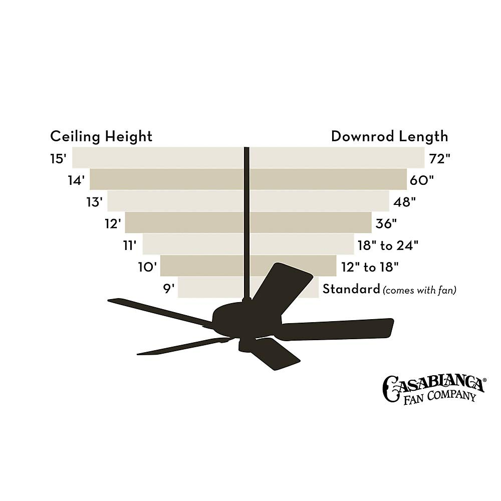 Casablanca PL-48 48'' Down Rod for Casablanca or Hunter Ceiling Fans and 13 Foot, Snow White