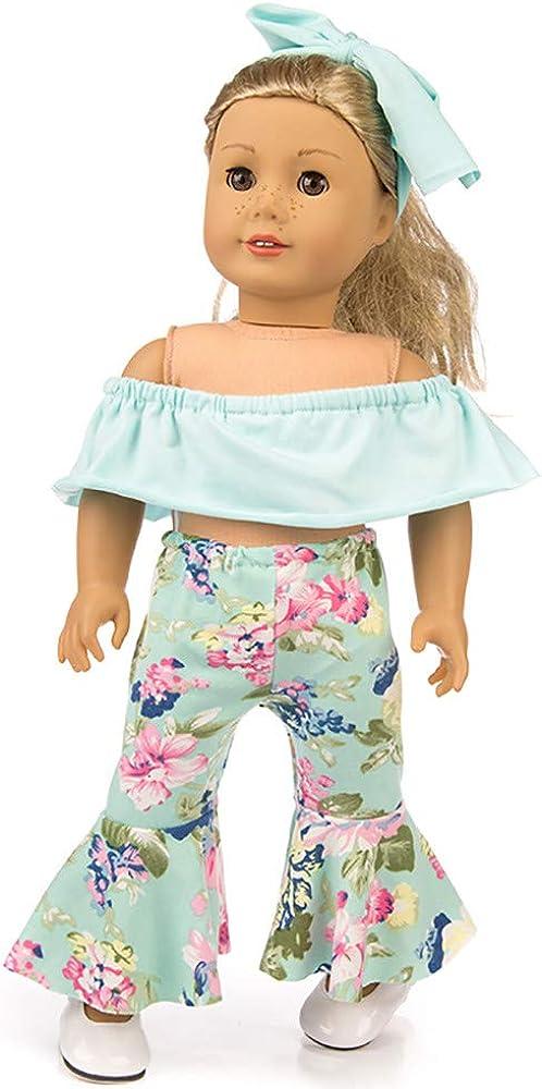 Lavany 3pcs Doll Clothes Set Off Shoulder Tops Pants for 18 Inch Doll (Blue)