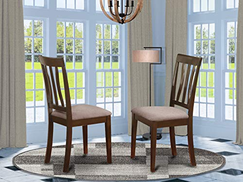 East West Furniture ANC-CAP-C Antique Wooden Dining Chairs - Linen Fabric Seat and Cappuccino Hardwood Frame Upholstered Dining Chair Set of 2