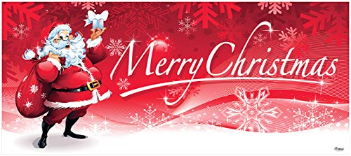 Victory Corps Outdoor Christmas Holiday Garage Door Banner Cover Mural Décoration 7'x16' - Santa's Merry Christmas Outdoor Christmas Holiday Garage Door Banner Décor Sign 7'x16' from Victory Corps