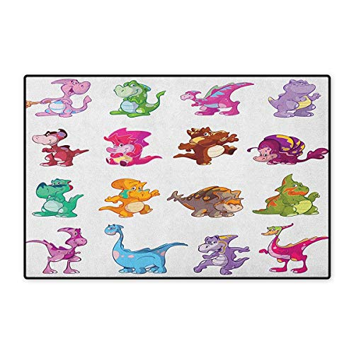 Flor Rug Collection (Jurassic,Door Mat Small Rug,Collection of Cute Dinos Dinosaurs Extinction Funny Comic Child Illustration,Floor Mat for Kids,Multicolor,Size,16