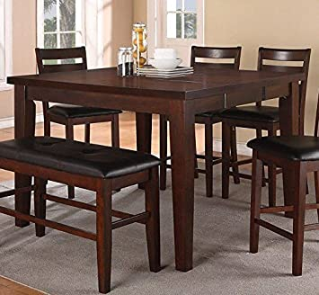 Amazon.com: 7 pieza Contador Altura mesa de comedor Set de ...