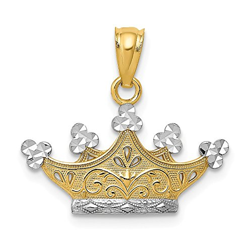 14k Yellow Gold Crown Pendant Charm Necklace Fine Jewelry Gifts For Women For Her