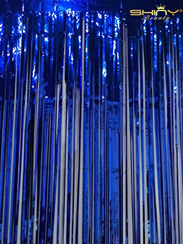 Blue Metallic Fringe (ShinyBeauty Tinsel-Foil-Fringe-Curtain-3FTX8FT-Royal Blue,Metalic Hanging Fringe Curtain/Backdrop,Support Home Party Decoration)