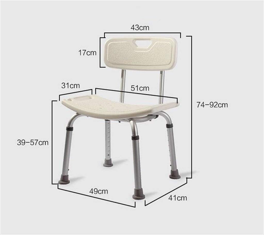 シャワーチェアシャワースツール調節可能な高さアルミ合金バスルームシャワーバスシートベンチヘルスケアチャンシューズシートアイルベンチ-背もたれ付きホワイト