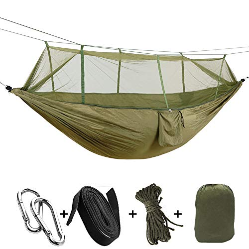 CapsA Camping Hammock Portable Indoor Outdoor Tree Hammock Hanging Straps Lightweight Easy Assembly Portable Parachute Nylon Hammock for Backpacking Travel Beach Backyard Hiking (B) (Tree Hanging Seat)