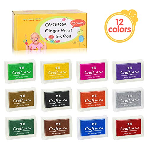 Stamp Pads, ANRAIN Fingerprint Ink Pad for Kids, Washable Craft Ink Pads for Rubber Stamps, Paper, Scrapbooking, Fabric (Pack of 12)