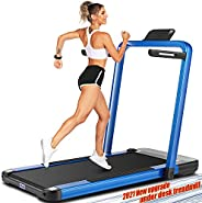 ANCHEER Folding Treadmill,Electric Treadmill with Desk, LCD Display and Bluetooth Speaker, Portable Running Wa