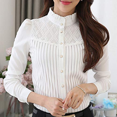 DORIC-2019-New-Girls-Womens-Tops-Blouse-Vintage-Collared-Pleated-Chiffon-Button-Down-Shirt-Long-Sleeve-Lace