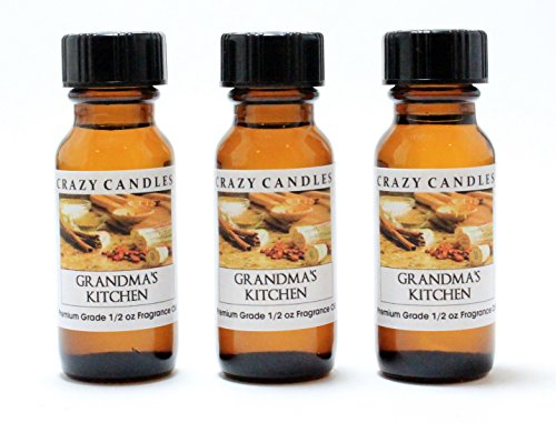 Sticks Whiff (Grandma's Kitchen 3 Bottles 1/2 Fl Oz Each (15ml) Premium Grade Scented Fragrance Oil By Crazy Candles (Creamy Vanilla, Cinnamon Sticks, Crust, Nuts, Sugar, Spices, Bubbling Hot Fruit))