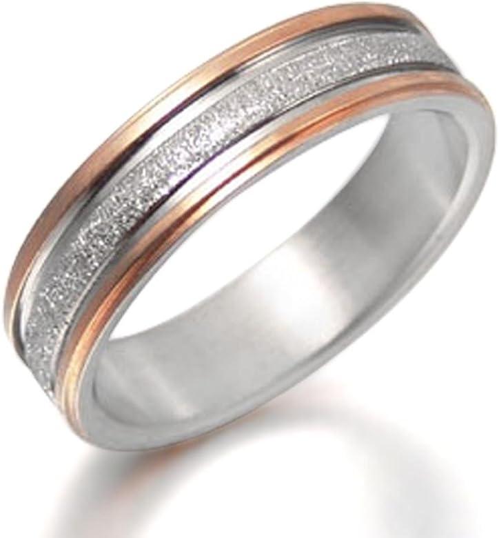 Everstone Novio y novia Dos tonos Anillo de matrimonio en oro rosa ...