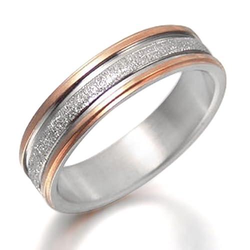 Everstone Novio y novia Dos tonos Anillo de matrimonio en oro rosa en titanio para pareja