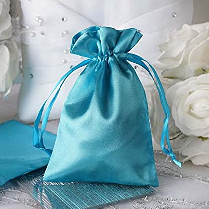 e7975e0a8784 Efavormart 60PCS Turquoise Satin Gift Bag Drawstring Pouch Wedding Favors  Bridal Shower Candy Jewelry Bags - 4