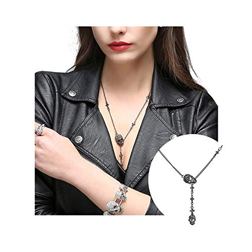 EVBEA Skull Necklace for Women Long Gothic Jewelry Cool Cross Rock Necklaces(46,bk) ()