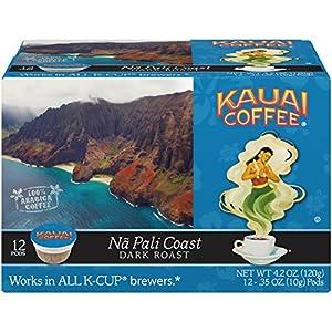 Kauai Coffee Single-serve Pods, Na Pali Coast Dark Roast – 100% Premium Arabica Coffee from Hawaii's Largest Coffee Grower, Keurig-Compatible Cups - 12 Count (Pack of 1)