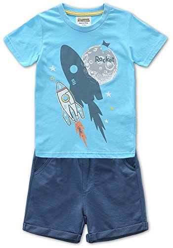 Fiream Boy's Cotton Shortsleeve Sets Shortsleeve Space Pattern Summer T-Shirts and Shorts 2 pcs Clothing Sets (18022,2T/2-3YRS) by Fiream