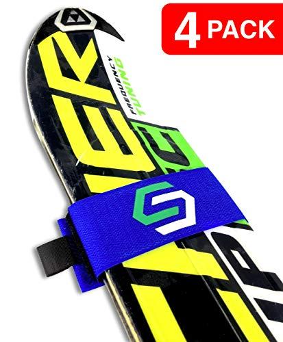 Velcro Ski Straps - StoreYourBoard 4 Pack of Ski Fastener Straps Blue