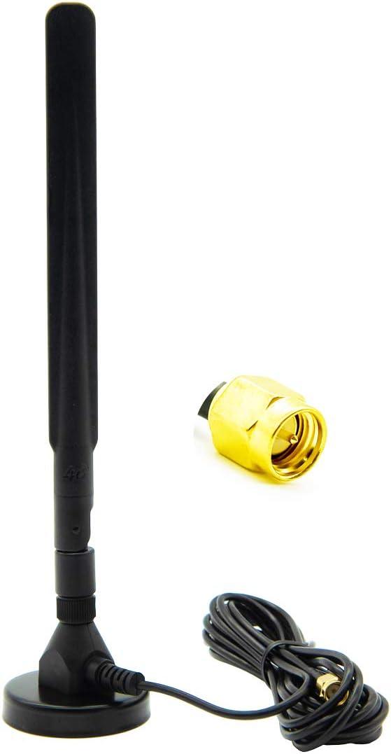 Vecys Adaptador de Enchufe SMA Antena 4G LTE 15DBi gsm / 3G / 4G Omnidireccional Exterior Interior Antena 4G Cable 3M RG174 Base Magnética Compatible con Enrutador 4G LTE 4G B593S-B310 B315S