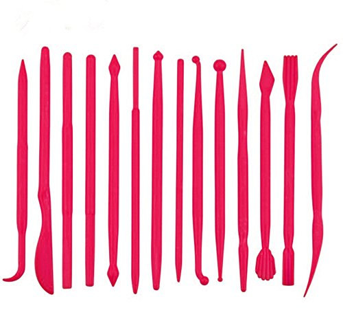 yueton 14pcs Set Plastic Crafts Clay Modeling Tool for Shaping and Sculpting (Hot pink)