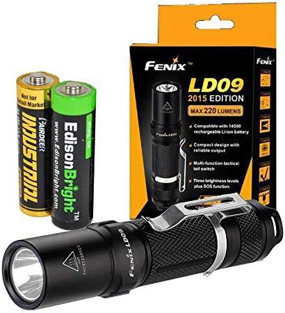 EdisonBright Fenix LD09 2015 Version 220 Lumen LED Tactical Flashlight AA Alkaline Battery
