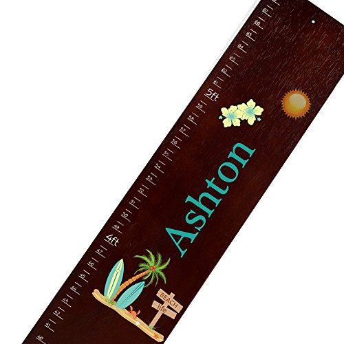 Surfboard Growth Charts - Personalized Espresso Surf's UP Childrens Wooden Growth Chart