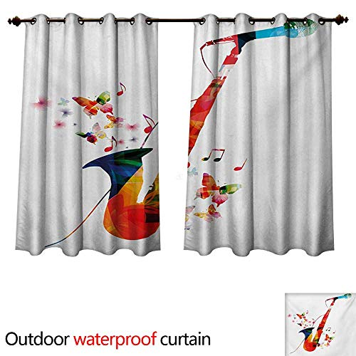 WilliamsDecor Music Outdoor Ultraviolet Protective Curtains Jazz Theme Colorful Saxophone with Microphone with Butterfly Orchestra Harmony Design W84 x L72(214cm x 183cm) ()