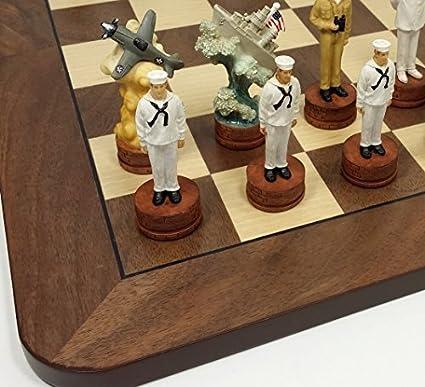 "WORLD WAR 2 US vs GERMANY CHESS Set W// EBONY /& BIRDSEYE MAPLE WOOD BOARD 17/"" WW2"