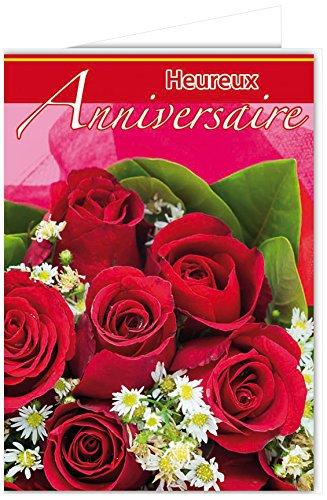 Carte Anniversaire Bouquet De Roses.Afie Mx 3013 Grande Carte Maxi A4 Heureux Anniversaire