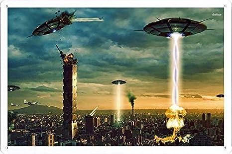 Amazon.com: Abstracto signo – # 24847 Alien Invasion metal ...