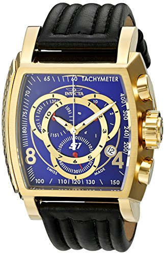 Invicta Men's 20243 S1 Rally 18k blue dial Ion-Plated Watch with Leather Band