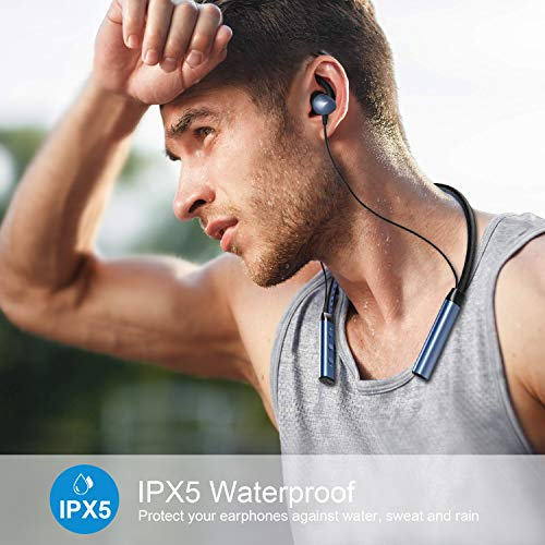 Jomifit Bluetooth 5.0 Neckband Headphones, Wireless Neckband Headset Stereo Noise Cancelling, IPX5 Waterproof Sports Earphones, Gym, Workout, Travel, Business, Magnetic Earbuds – Blue