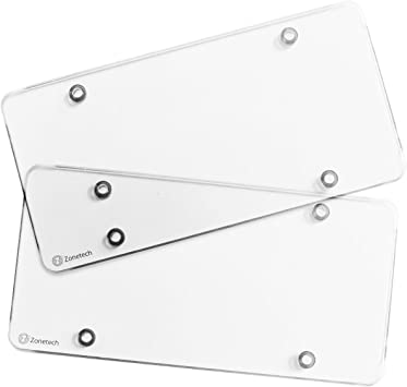CHEDA Clear License Plate Cover Clear Premium Quality Novelty//License Bubble Shields Protector Fits US Standard 6x12 Inches 2-Pack Front Back License Plate Frame