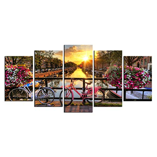 Biuteawal- 5 Panel Wall Art Beautiful Sunrise Over Amsterdam The Netherlands Scenery Painting on Canvas Lake with Flowers and Bicycles Picture Print for Home Living Room Wall Decor Ready to -